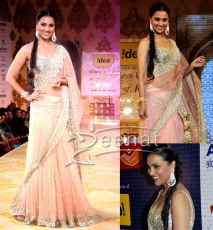 Strap Sleeves Designer Saree On Lara Dutta