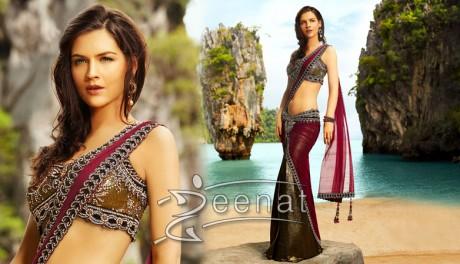 Neha Dalvi Maroon Saree Style