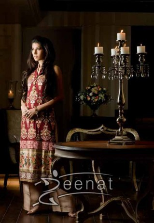 Parallel Embroidered Suit On Vaneeza Ahmed
