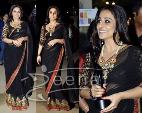 Vidya Balan Bollywood Black Banarsi Sari