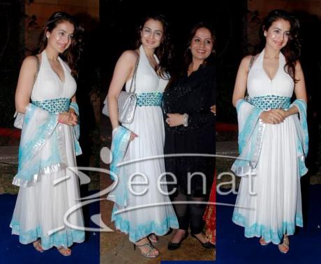 White Anarkali Churidar Style on Amisha Patel