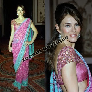 Elizabeth Hurley In Indian Saree Style