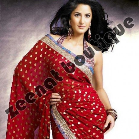 Katrina Kaif In Red Banarsi Saree