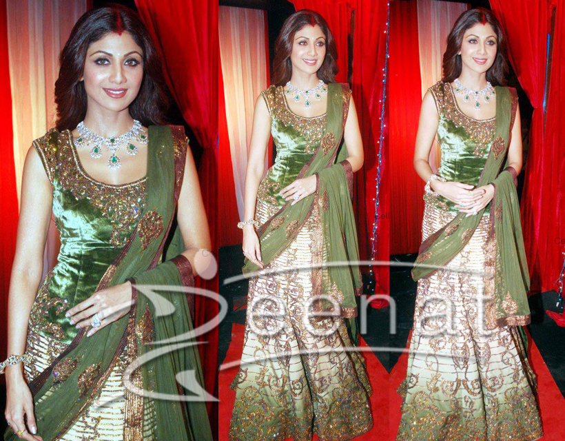 Mehndi Bridal Lehnga : Shilpa in bridal lehenga choli zeenat style