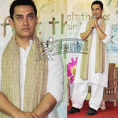 Aamir Khan At Seksari School In White Suit