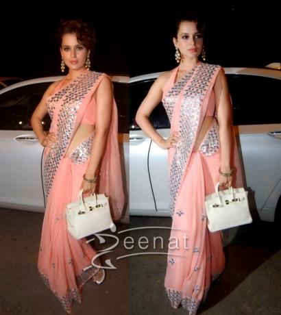 Kangana Ranaut In Peach Designer Saree