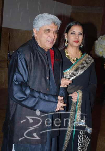 Javed Akhtar In Kurta Pajama - Shabana Azmi Black Saree