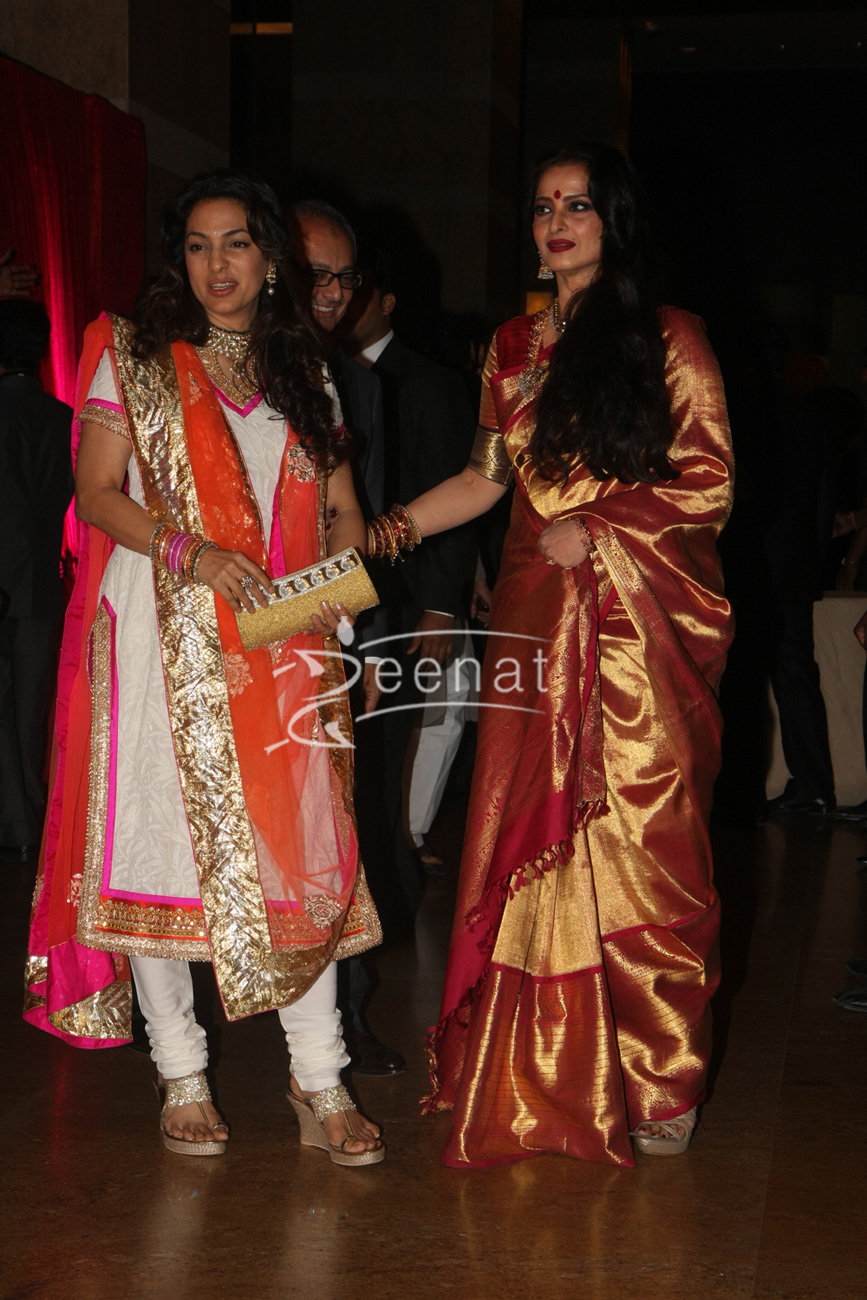 Rekha With Juhi Chawla At Ritesh Deshmukh Genelia Wedding Reception Hotel Grand Hyatt In Mumbai