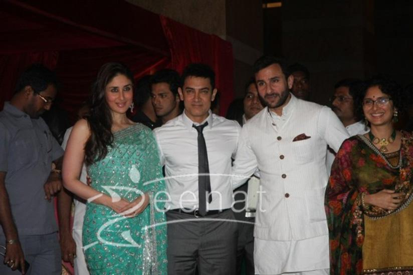Kareena Kapoor Aamir Khan Saif Ali Khan Kiran Rao at Ritesh Deshmukh Genelia Wedding Reception at Hotel Grand Hyatt in Mumbai