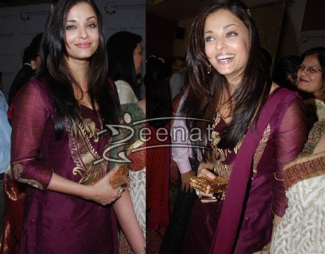 Aishwarya Rai In Maroon Churidar suite