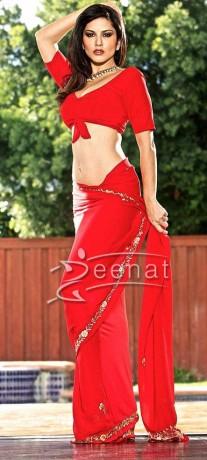 Sunny Leone In Red Saree