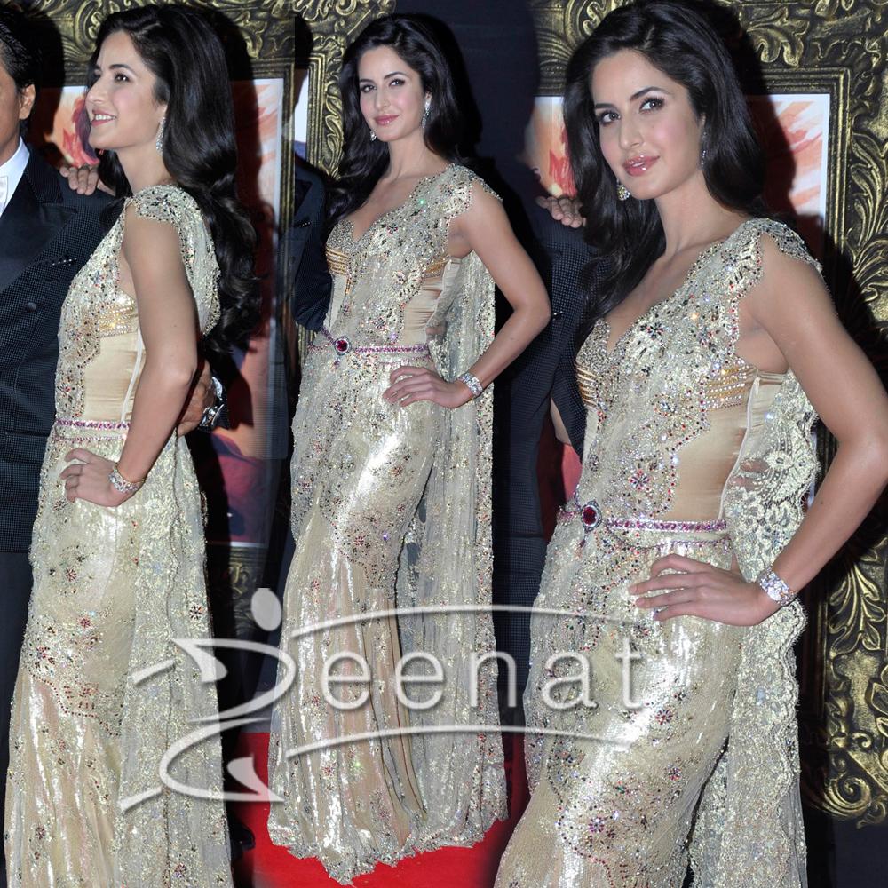 Katrina Kaif In Golden Sareesque Zeenat Style
