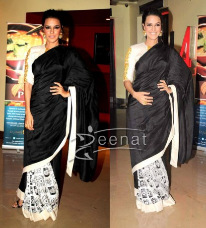 Neha-Dhupia-Black-White-Saree