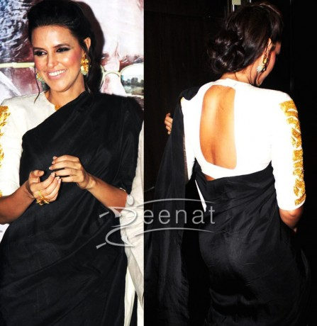 Neha-Dhupia-Black-White-Saree1