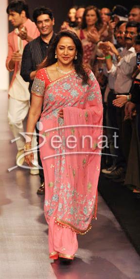 Hema Malini In Manish Malhotra Designer Pink Saree