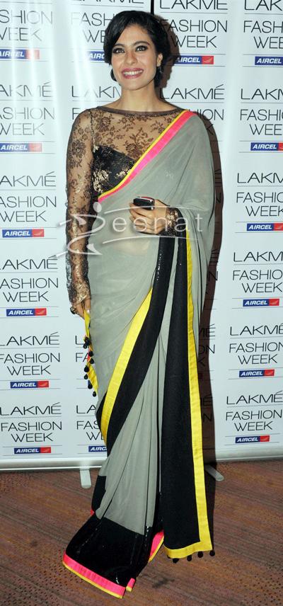 Kajol In Manish Malhotra Designer Saree At Lakme Fashion Week 2013