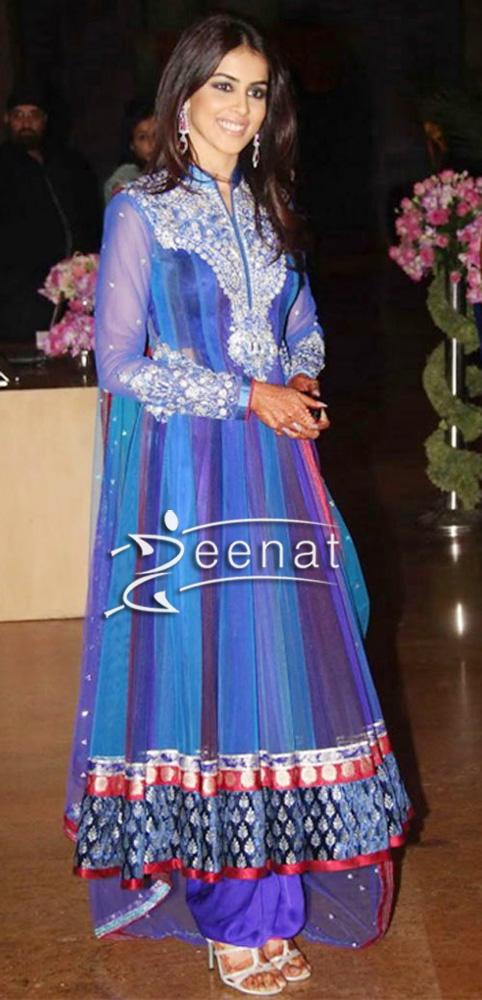 Geneliz Dsouza In Blue Anarkali Salwar Suit