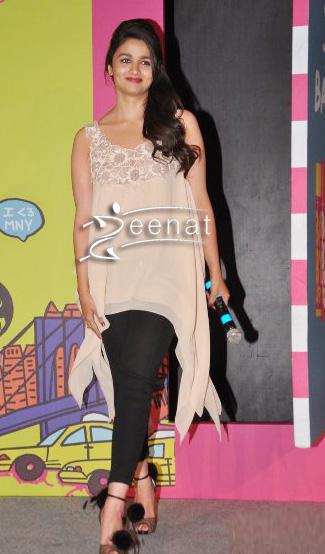 Alia Bhatt In Beige Kurta at Maybeline Song Launch
