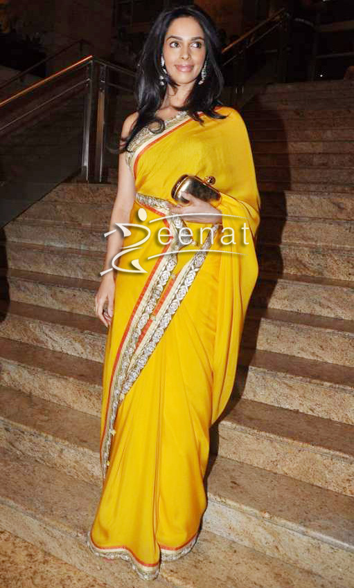 Mallika Sherawat In Traditional Yellow Saree