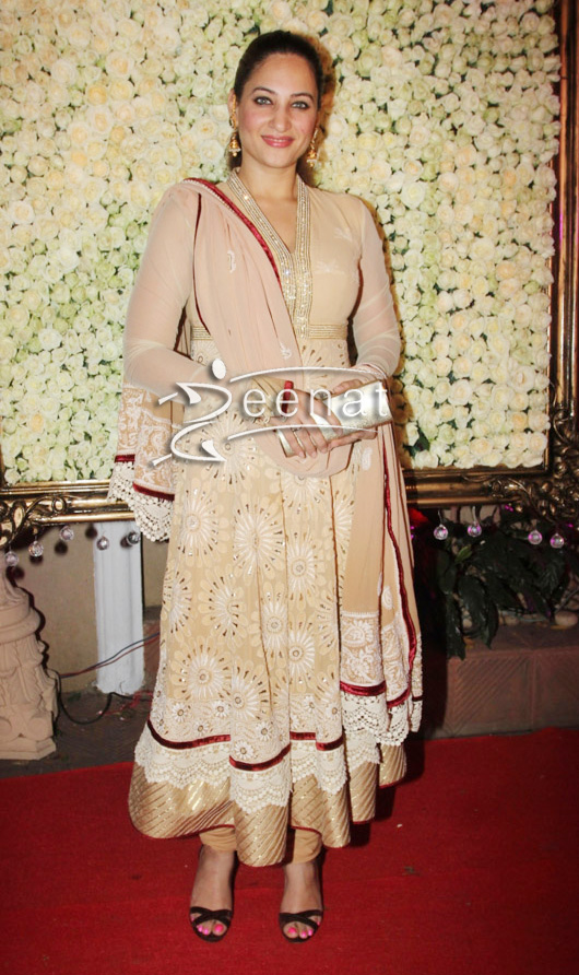 Rakshanda Khan In Nude Anarkali Frock