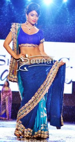 Shriya-Saran-In-Blue-Designer-Saree