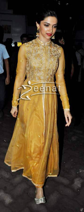 Deepika Padukone in mustard golden Anarkali Churidar
