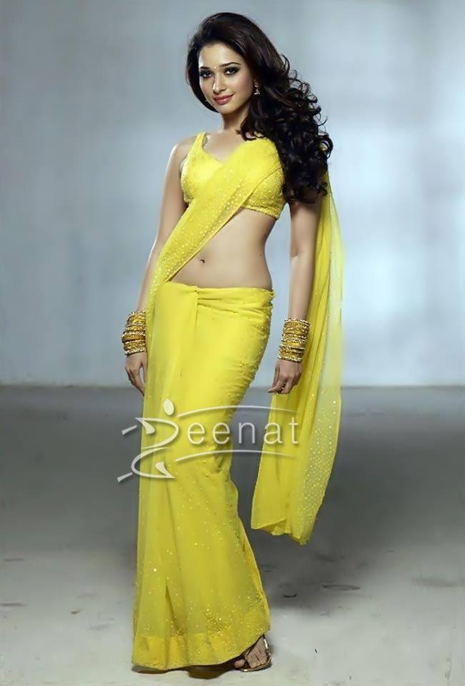 Tamanna In Tadakha Halfsaree: Tamanna Bhatia Hot In Yellow Saree