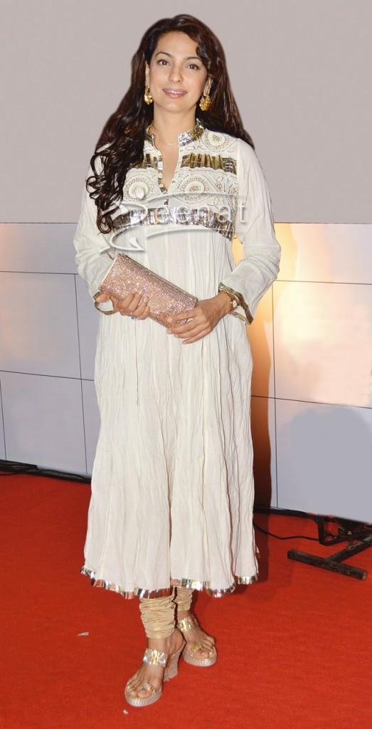 Juhi Chawla In Designer White Anarkali suit