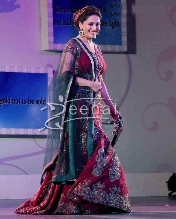 madhuri dixit in bridal lehenga choli zeenat style