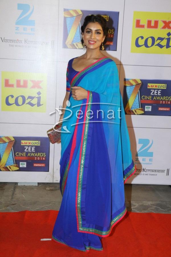 Pallavi Sharda In Designer Blue Saree   Zeenat Style  Pallavi Sharda ...