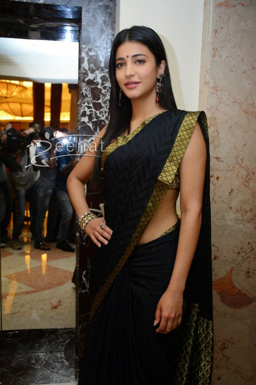 Shruti Hasan in Black Silk Saree | Zeenat Style