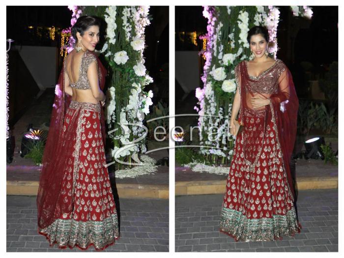 634475a833 Sophie Choudhary in Manish Malhotra Maroon lehenga   Zeenat Style
