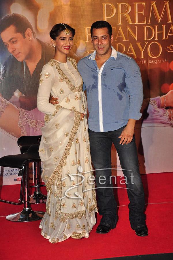 Sonam Kapoor And Salman Khan At Prem Ratan Dhan Payo Trailer Launch - Sonam Kapoor White Dress 8