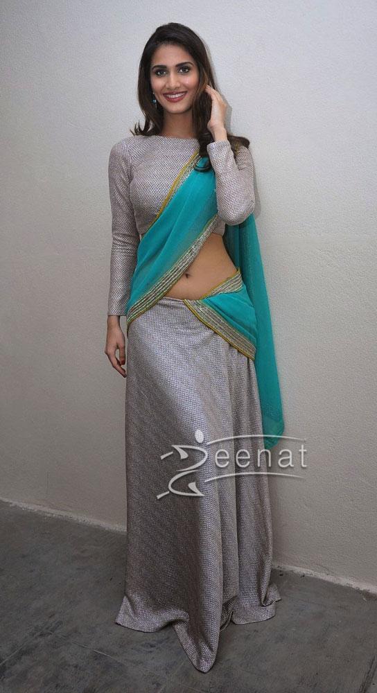 Vaani Kapoor below navel Saree stills2