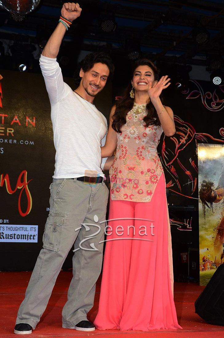 Jacqueline Fernandes promotes A Flying Jatt in Kavita Bhartia dress