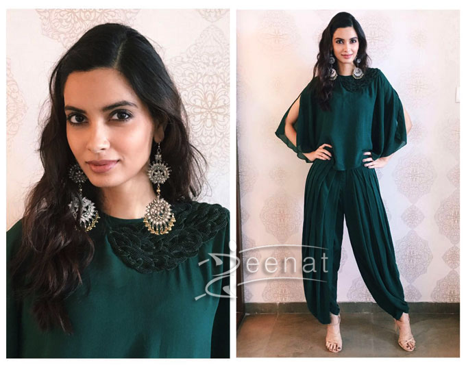 Diana in a green dhoti pants paired with a cape top from Urvashi Joneja.