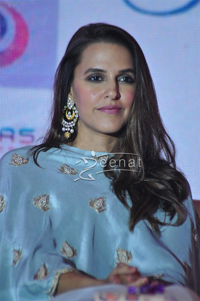 Neha Dhupia In Payal Singhal Cape Dress
