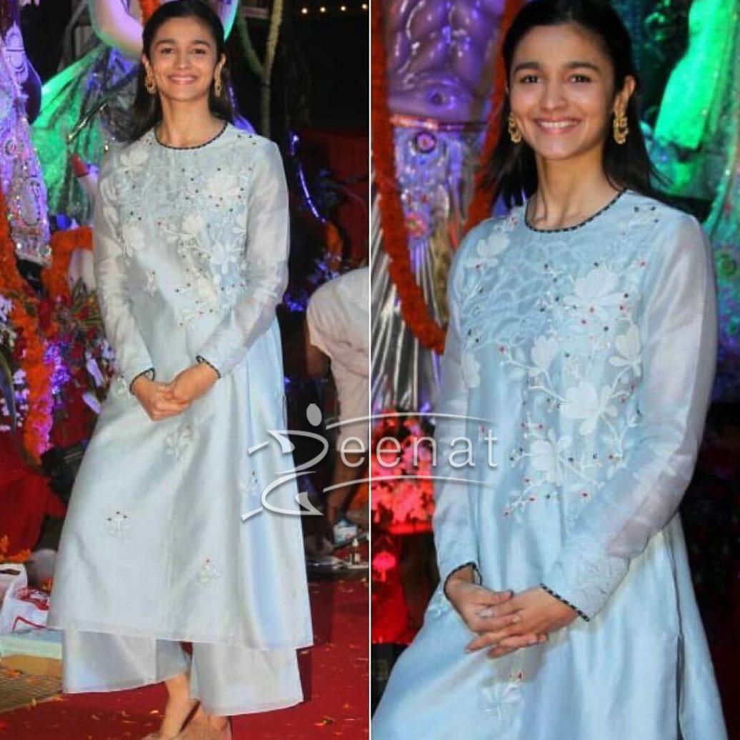 Alia Bhatt In AM PM Blue Kurta