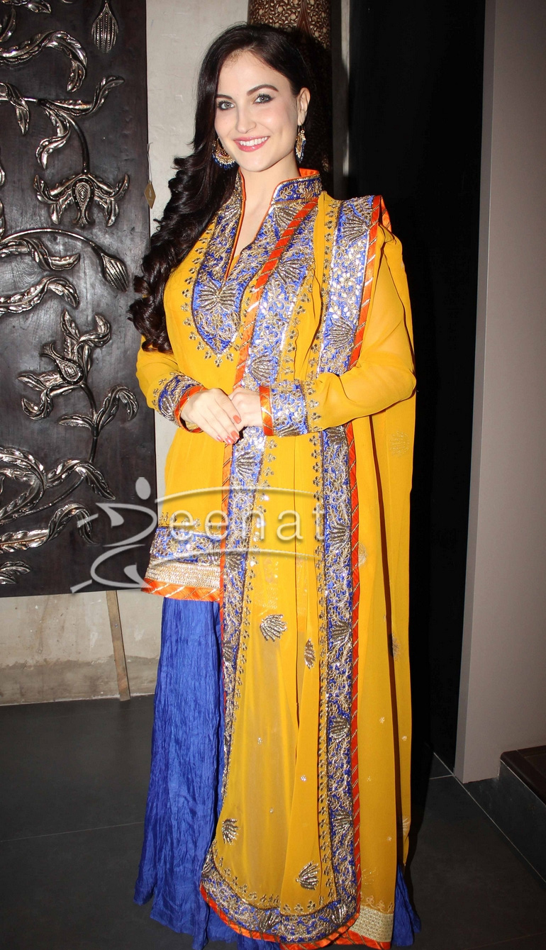 Elli Avram In Yellow and Blue Palazzo Suit