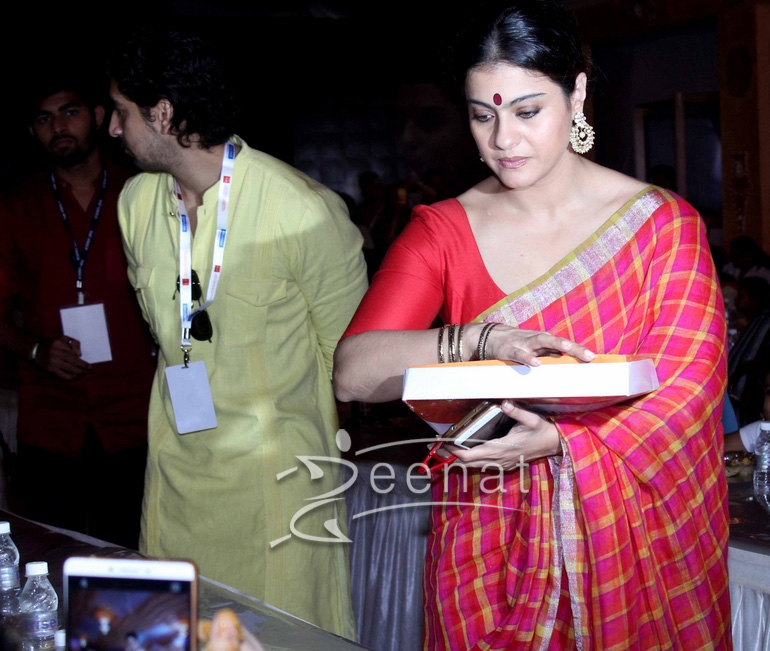 Kajol In Anvila Saree For Durga Pooja