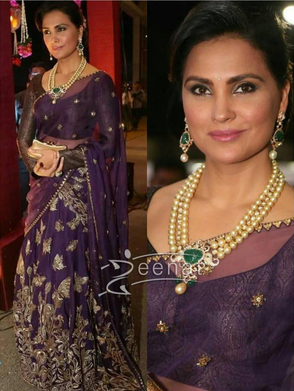 Lara Dutta In Monica Jaising Embroidered Saree