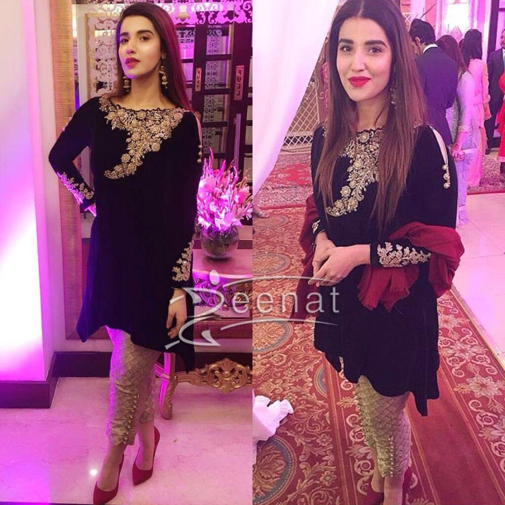 Hareem Farooq In Black Designer Outfit