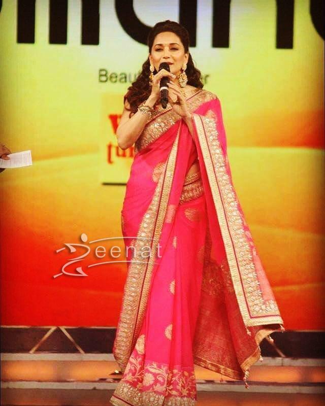 Madhuri Dixit in Anita Dongre Embellished Saree at Umang 2017