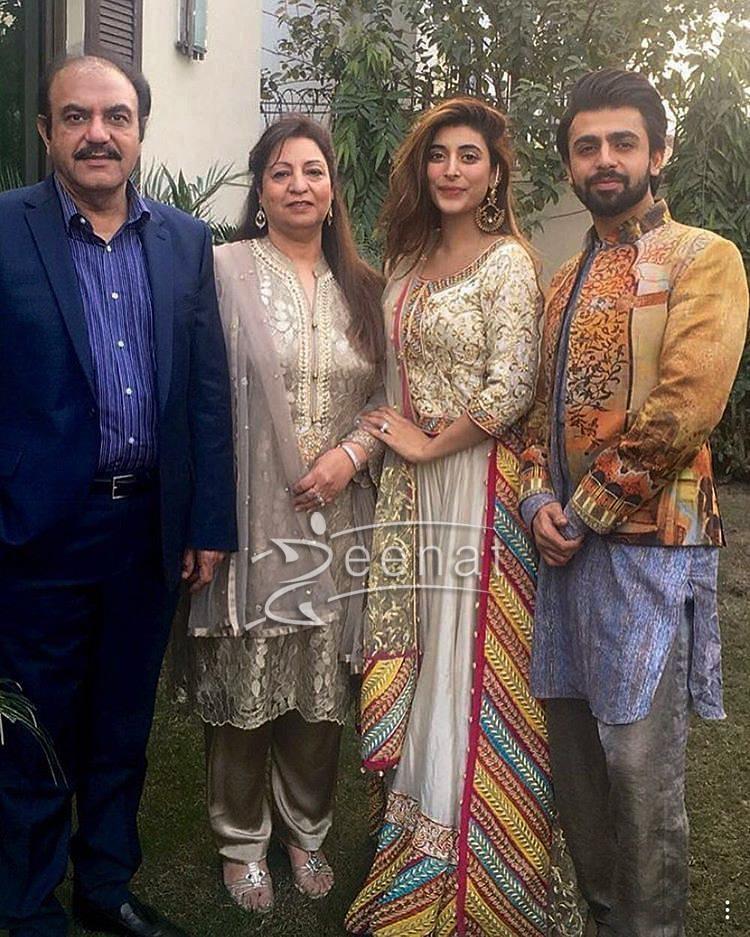 Farhan Saeed Urwa Hocane wearing Divani Pakistan Lehenga