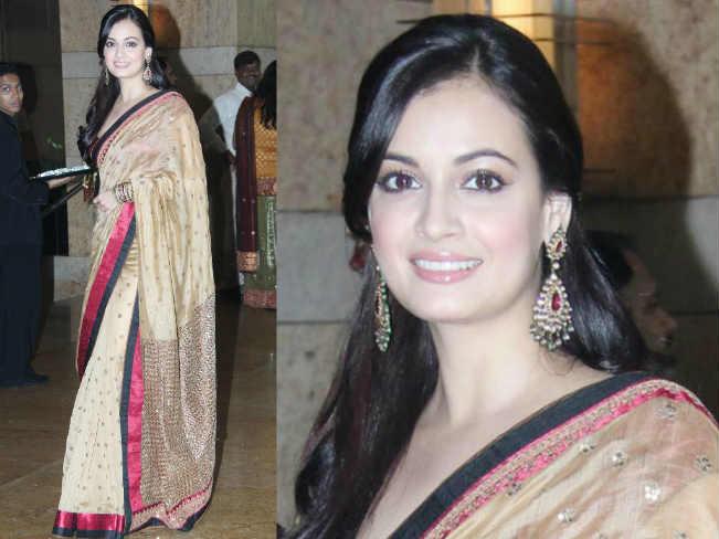 dia mirza saree makeup