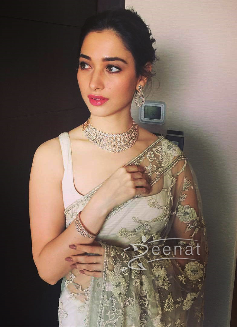 Tamannah Bhatia in Shehla Khan Saree for Malabar Gold and Diamonds Store Launch