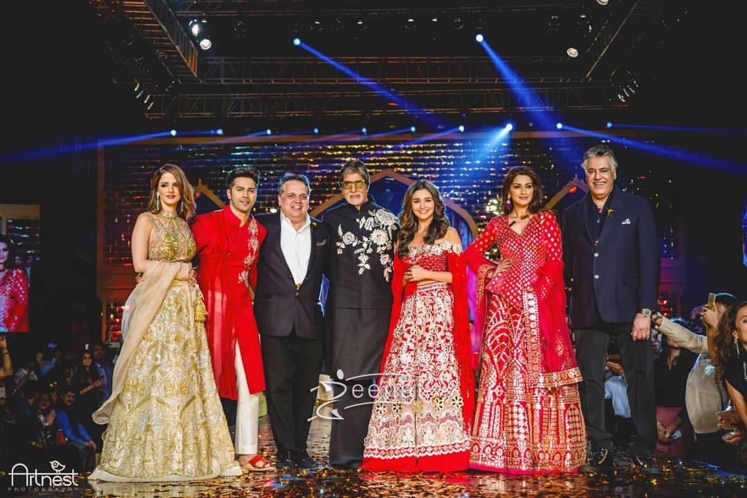 Varun Dhawan, Alia Bhatt and Amitabh Bachchan walked for CPAA Fashion Show wearing Abu Jani-Sandeep Khosla.