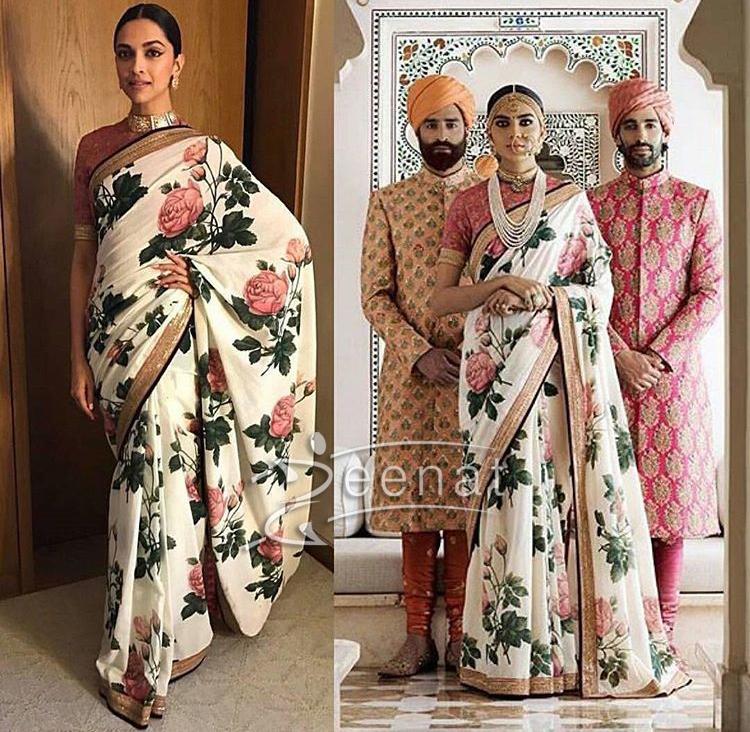 Deepika Padukone in Sabyasachi Mukherjee Floral Saree