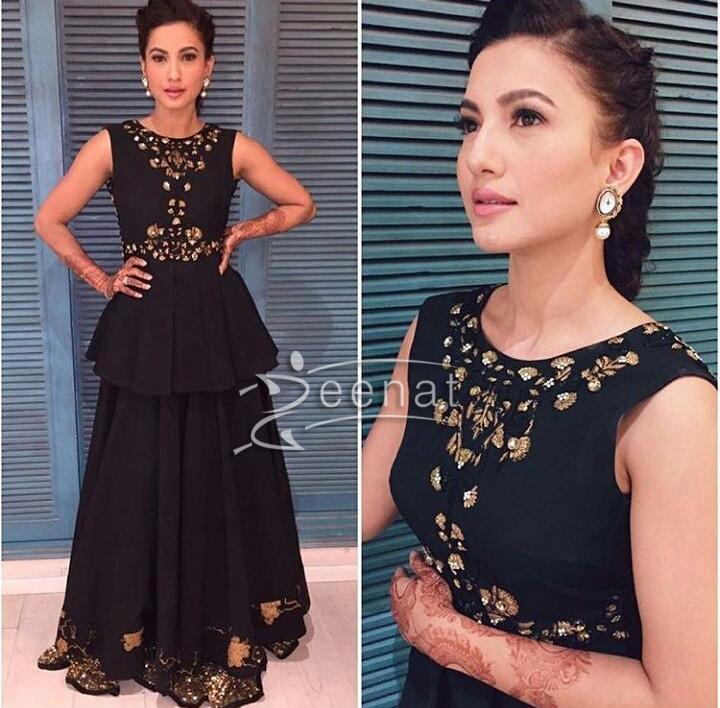 Gauhar Khan Black Peplum Top and skirt
