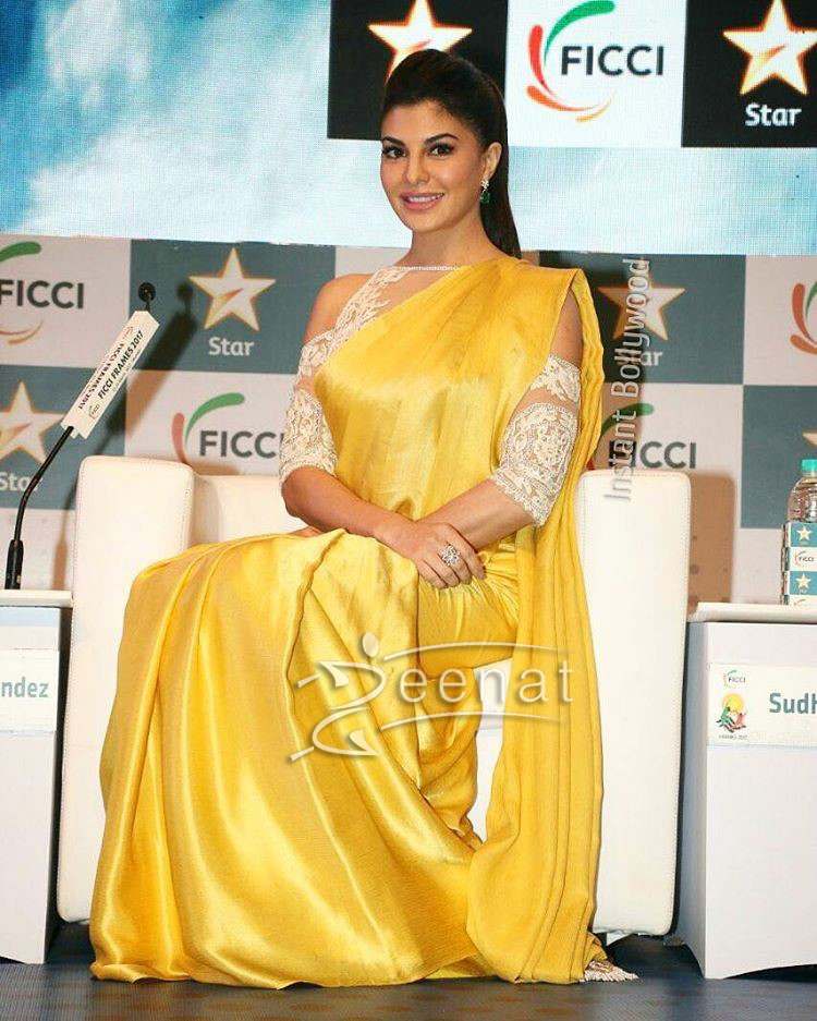 Jacqueline Fernandez in Silk Saree by Manish Malhotra